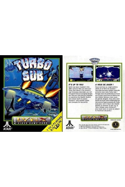 ATARI LYNX VIDEO GAME CARD TURBO SUB NUOVO SIGILLATO